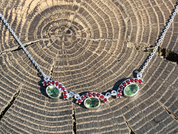JASMIN, SILVER NECKLACE, MOLDAVITE, GARNET - MOLDAVITES, CZECH JEWELS