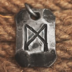 MANNAZ, forged iron rune pendant