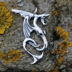 WATER DRAGON, silver pendant