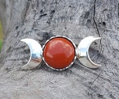 THREE MOON, pendant, sterling silver and jasper