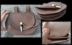 LARGE LEATHER BAG with antler