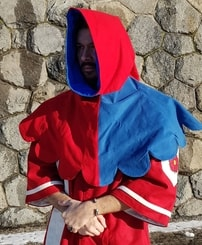 Medieval woolen Hood - red and blue