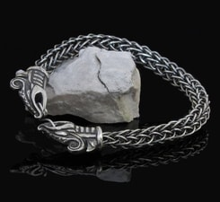 DREKI, viking dragon, sterling silver bracelet - viking knit