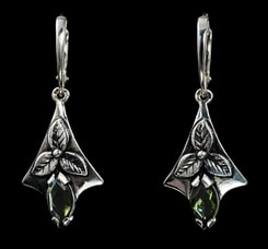 SHAMROCK, earrings, moldavite, silver