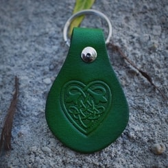 Keychain - Celtic Heart, leather
