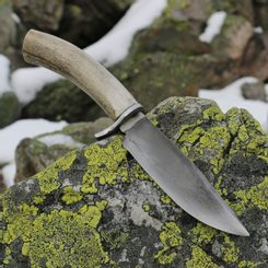 WYATT, Bowie knife with antler, hamon hardening