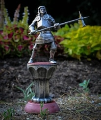 Knight with a hammer, 15th century, tin figure