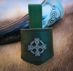 HORN HOLDER, leather, Celtic Cross