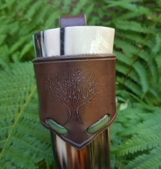 CELTIC TREE, Leather Drinking Horn Holder
