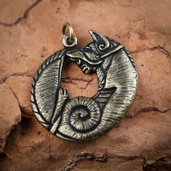 CELTIC FOX, Pendant zinc ant. brass
