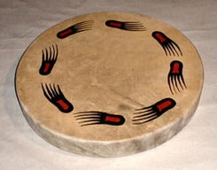 SHAMAN INDIAN DRUM, BEAR TRACKS 40 cm