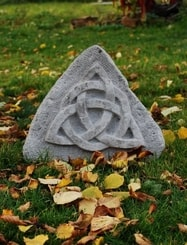 TRIQUETRA stone relief from sandstone, Menhir