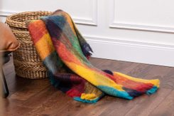 JEWEL CHECK MOHAIR THROW, mohair, wool