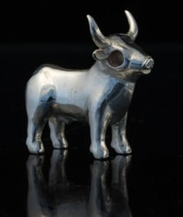Celtic Bull from Bull Rock Cave, Moravia, figure silver