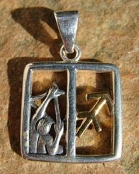 SAGGITARIUS, Centaur The Archer, silver pendant