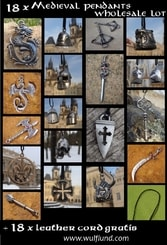 MEDIEVAL PENDANTS, Wholesale Lot of 18 pcs with leather cords