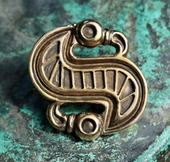 Langobardic S-shaped Brooch, bronze, reproduction