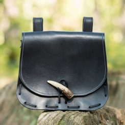 LEATHER HISTORICAL BELT BAG, antler, black