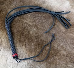 Leather Quirts, black and red