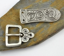 DARK AGE, belt buckle and strap end, silver colour