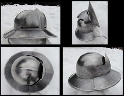 IRON HAT WITH MOVEABLE VISOR