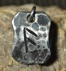 ANSUZ, forged iron rune pendant