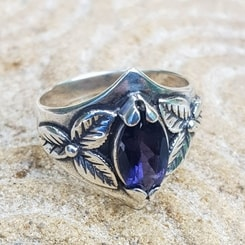 SHAMROCK, ring, iolite, sterling silver