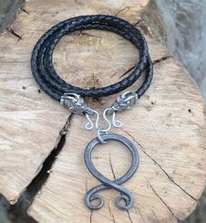 FÁFNIR and TROLL CROSS , forged pendant, leather bolo