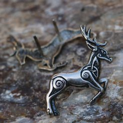CELTIC DEER - Herne, sterling silver rivet for leather