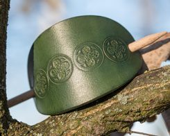 PRAGA, leather Hair Clip, green