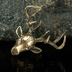 DEER, head, bronze pendant, necklace