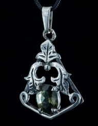 ZEPHYRA, pendant, faceted moldavite jewelry, silver