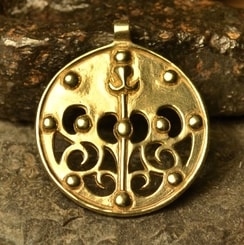 Celtic La Tene Dragon or Boar Brass Pendant, locality of Skryje, central Bohemia