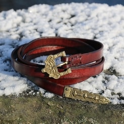 BORRE, leather viking belt, firebrick
