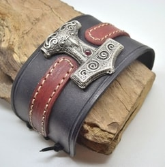 VIKING LEATHER BRACELET, Thor's Hammer - Scania