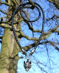 VIKING WOLF NECKLACE, tin, braided cord