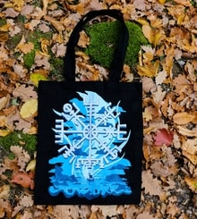 Vegvísir and Drakkar Ship, Tote Bag