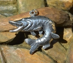 PIKE, fishing silver pendant, 925
