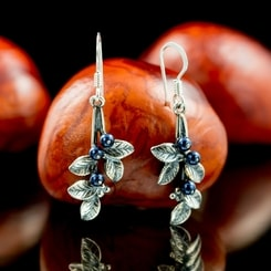 Blueberries, Earrings, silver