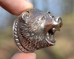 BERSEKER, bear pendant with early medieval ornaments, bronze
