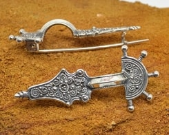Early Medieval FIBULA, sterling silver brooch