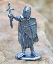 KNIGHT OF THE TEMPLE, historical tin statue