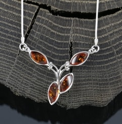 FLORA, amber, necklace, sterling silver
