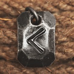 KENAZ, forged iron rune pendant