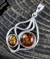 JOLA, amber pendant, sterling silver
