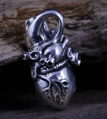 HEART, Anatomical Human, pendant, sterling silver
