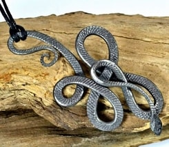 KNOTTED SNAKE, hand forged talisman
