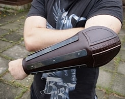 LEATHER BRACER WITH METAL STRAPS, elbow protection,  for combat