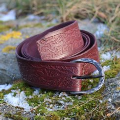 ROOTS, leather belt cognac