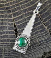 TRIANGLE - Malachite, pendant, silver